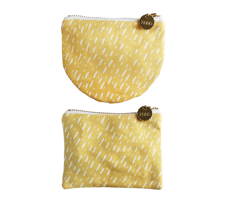 yellow stripes canvas and leather coin purse