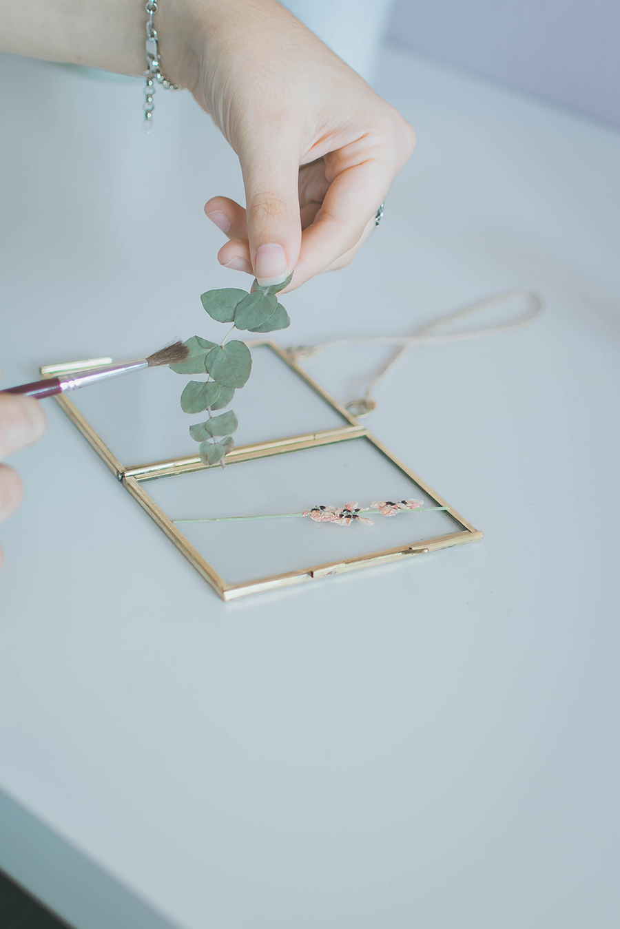 DIY Pressed Flower Frame Gluing Process