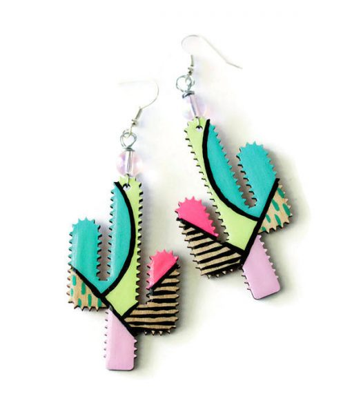 abstract painted cactus earrings