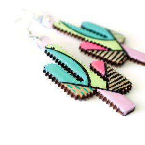 abstract painted cactus earrings by a tiny little triangle