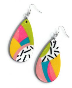 abstract rainbow teardop shaped earrings