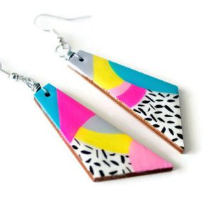angle view of the max rainbow 80s dangle earrings