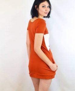 back of cotton fox dress – orange mini dress