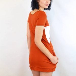 back of cotton fox dress – orange mini dress