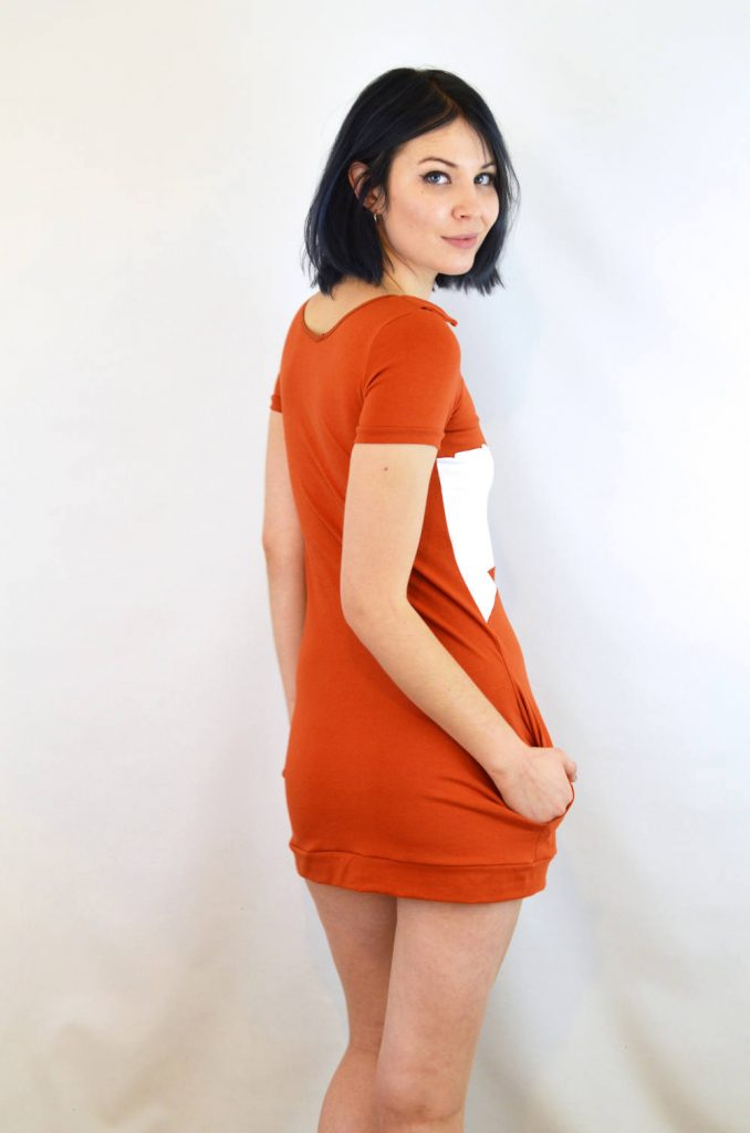 back of cotton fox dress - orange mini dress