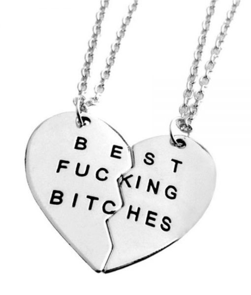 best fucking bitches necklace set sterling silver