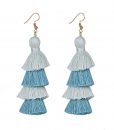 blue and gray long tassel earrings