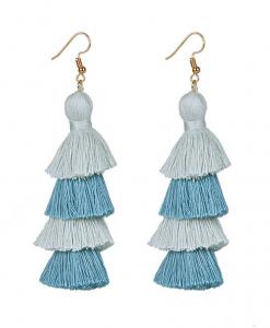 blue and gray long tassel earrings