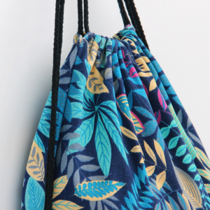 blue and green floral canvas backpack
