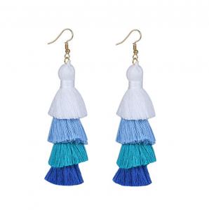 blue ombre long tassel earrings