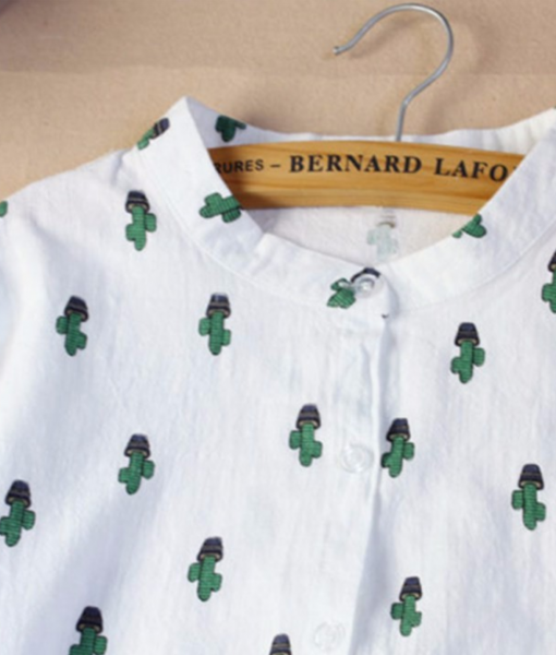 cactus blouse with cropped collar