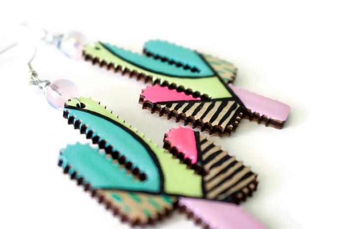 cactus dangle earrings hand painted