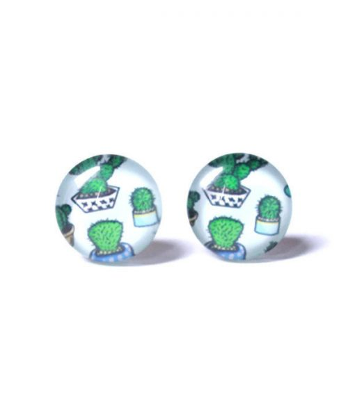 cactus stud earrings - handmade jewelry pop shop america