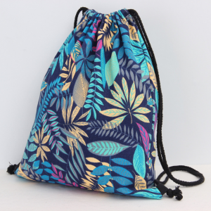 close up of blue and green floral backpack pop shop america