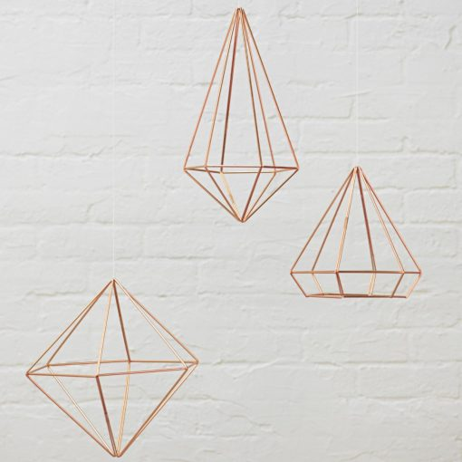 copper hanging orb - geometric shape home decor