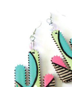 detail of painted cactus earrings – handmade dangle earrings