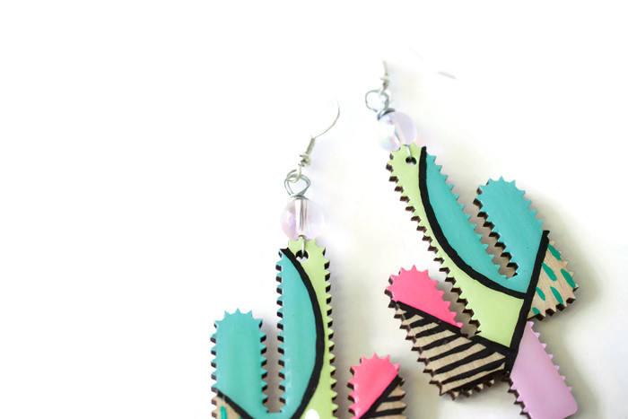 detail of painted cactus earrings - handmade dangle earrings