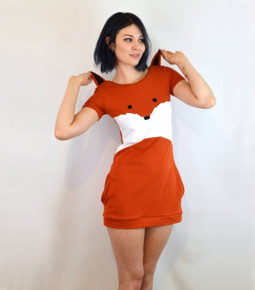 ears of fox dress orange and white mini dress