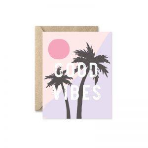 good vibes palm tree greeting card