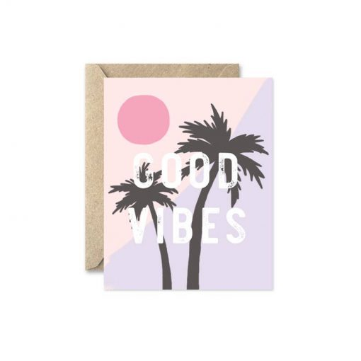 good vibes palm tree greeting card
