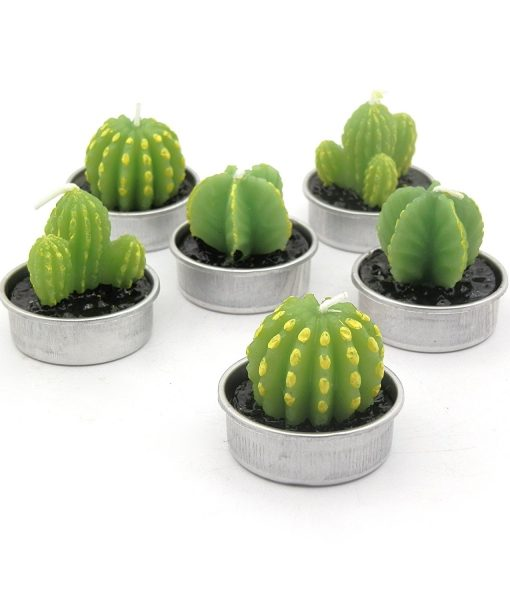 green carved cactus candles