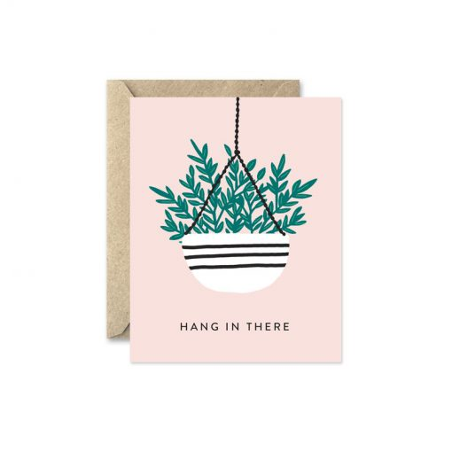 hang in there hanging planter greeting card