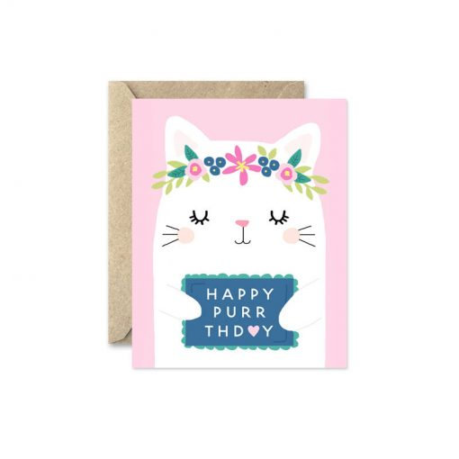 happy birthday card with kitten