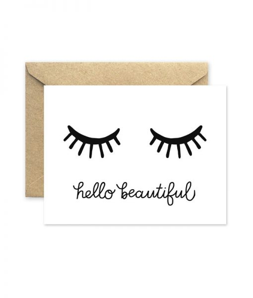 hello beautiful eyelashes greeting card