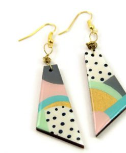 hero abstract pastel painted 80s earrings - handmade jewelry