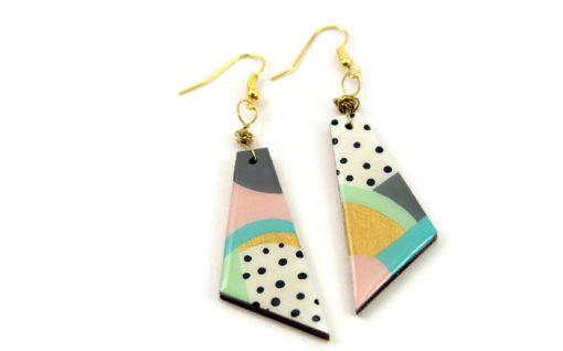 hero abstract pastel painted 80s earrings - handmade jewelry
