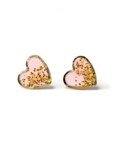hero pink glitter stud earrings - handmade jewelry