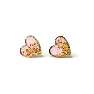 hero pink glitter stud earrings - handmade jewelry