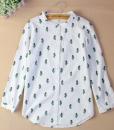 linen cactus button down womens blouse