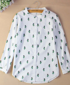 linen cactus button down womens blouse