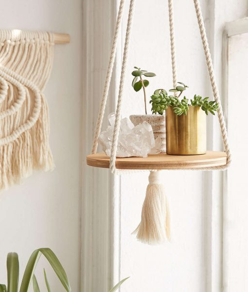 macrame floating shelf by recycled lovers