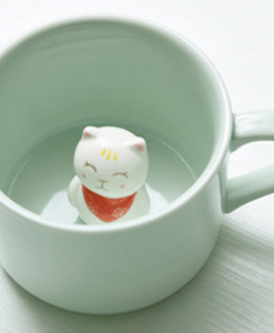 mint ceramic mug with cat