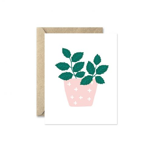 mint potted herb greeting card