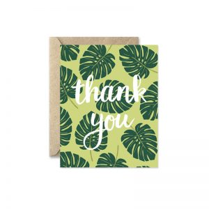 monstera leaf thank you card