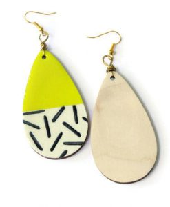 neon yellow and black and white stripes teardrop earrings