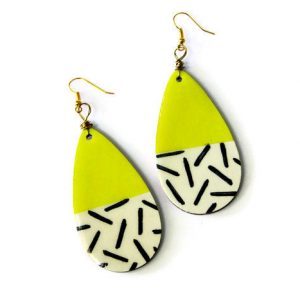 neon yellow teardrop earrings pop shop america