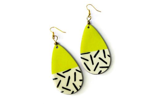 neon yellow teardrop earrings pop shop america