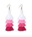 pink ombre long tassel earrings