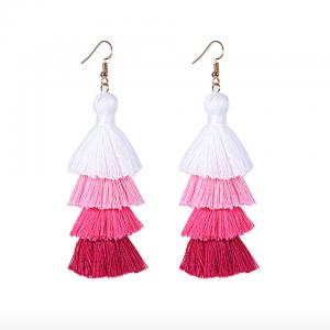 pink ombre long tassel earrings