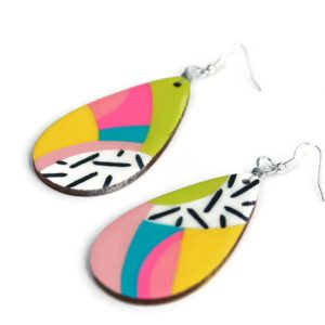rainbow teardrop earrings – handmade jewelry from san antonio tx