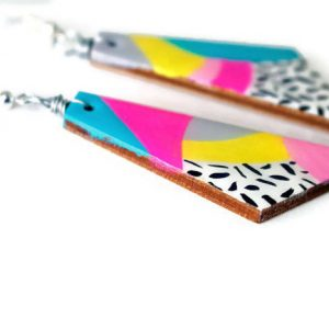 side of the max rainbow painted earrings – handmade dangle earrings