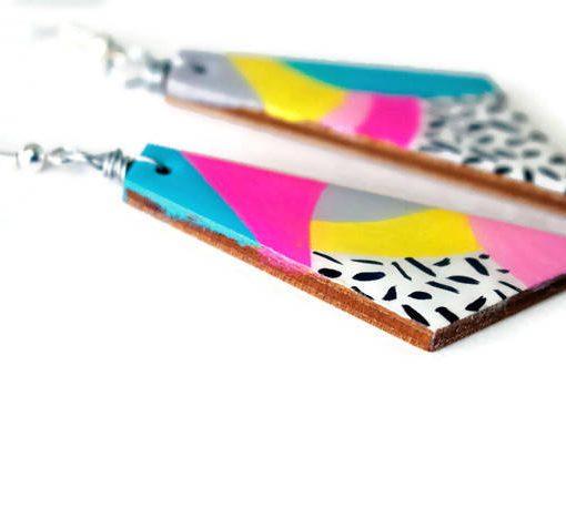 side of the max rainbow painted earrings - handmade dangle earrings