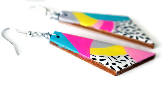 side of the max rainbow painted earrings - handmade dangle earrings