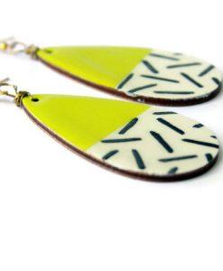 side of yellow teardrop earrings