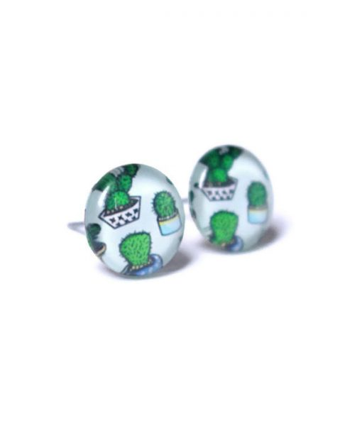 side view handmade cactus stud earrings