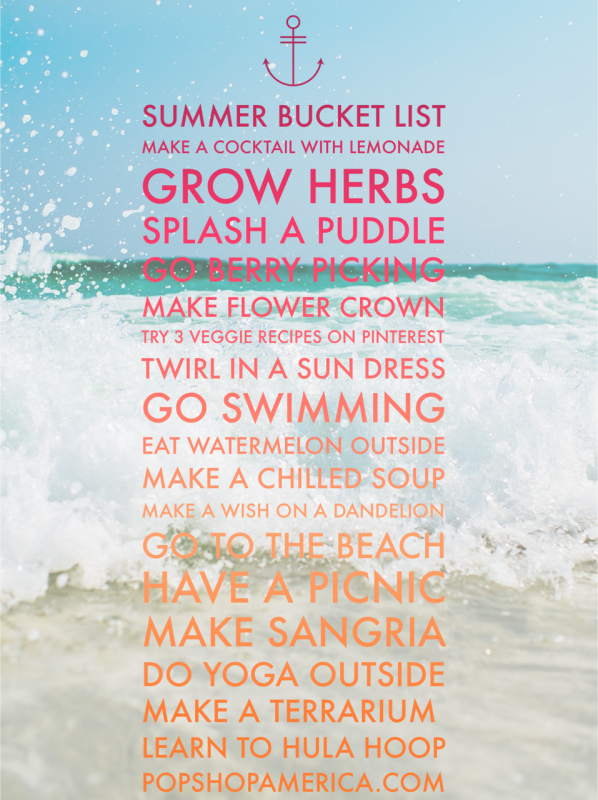 summer bucket list by pop shop america
